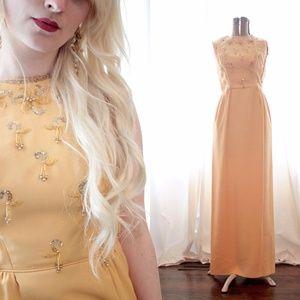 1960 golden yellow maxi evening dress tassel beads